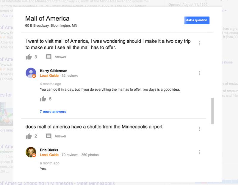 Google questions details